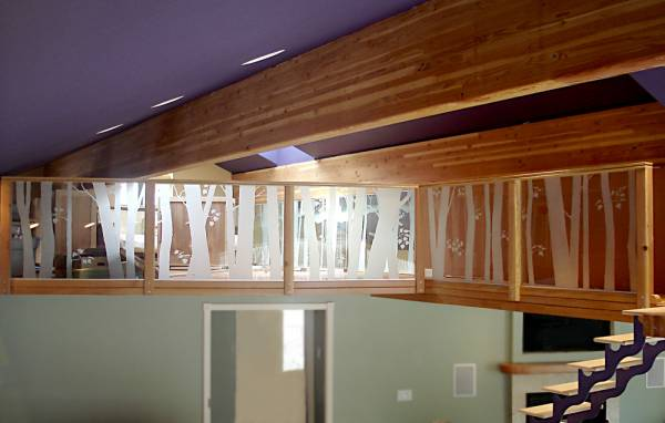 birch etched glass railing